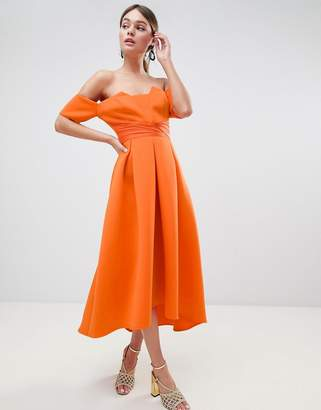 Bardot Asos Design ASOS DESIGN pleated waist scuba midi prom dress