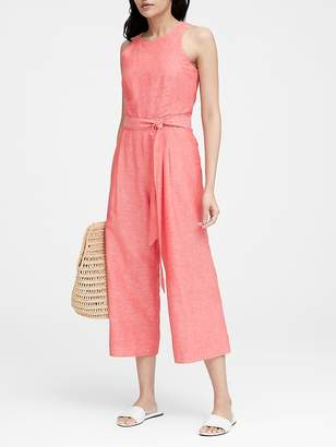 Banana Republic Petite Linen-Cotton Cropped Jumpsuit