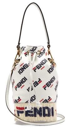Fendi Mania Mon Tresor Logo Leather Bucket Bag - Womens - White Multi