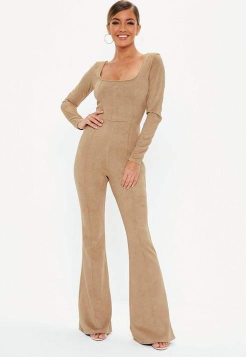 sand bonded faux suede seam detail jumpsuit, Stone