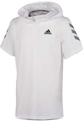 adidas Boys' Striped-Sleeve Hooded Tee - Big Kid