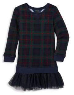 Ralph Lauren Little Girl's& Girl's Plaid& Tulle Sweater Dress