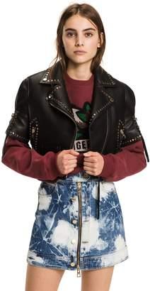 Tommy Hilfiger Short-Sleeve Leather Biker