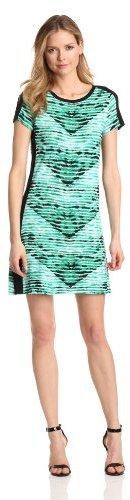 Calvin Klein Women's Print T Shirt Dress, Emerald/Nile Multi, X-Large