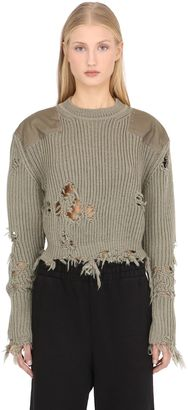 Destroyed Crop Knit Sweater W/ Patches $750 thestylecure.com