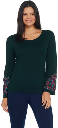 Linea By Louis Dell'olio by Louis Dell'Olio Whisper Knit Sweater with Embroidery