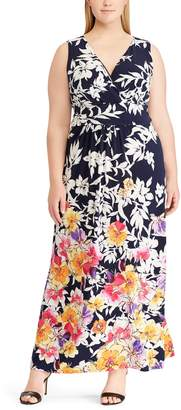 Chaps Plus Size Floral Surplice Maxi Dress
