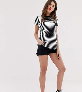 New Look Maternity denim mom shorts in black