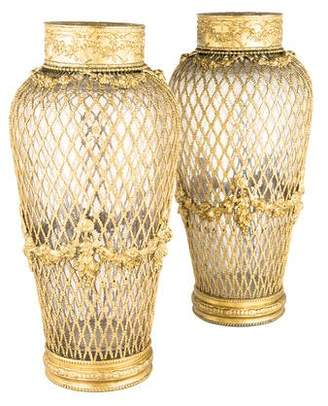 Pair of Antique Gilt Bronze & Glass Vases