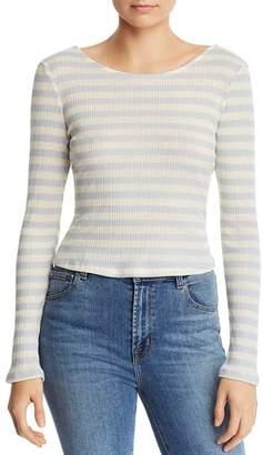Aqua Long-Sleeve Striped Ribbed Tee - 100% Exclusive