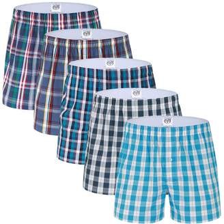 Trunks SLJ Men's Solid Color Cotton Boxer Brief Underwear 5 Pack