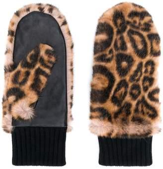 Bellerose leopard-print mittens