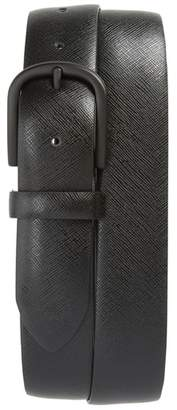 Canali Saffiano Leather Belt