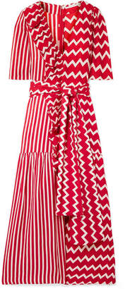 Stella McCartney Ruffle-trimmed Printed Silk-moire Maxi Dress - Red