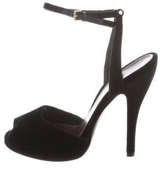 Gucci Velvet Ankle Strap Sandals