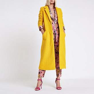 River Island Dark yellow textured longline coat