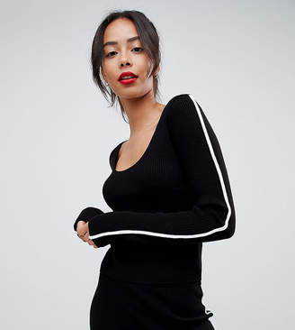 Asos Tall DESIGN Tall two-piece Sweater in rib knit with tipping