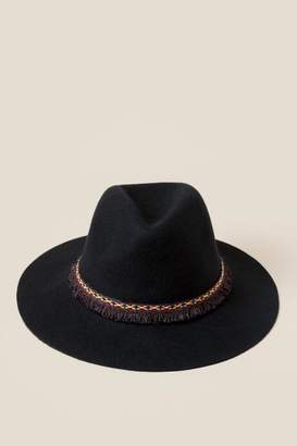francesca's Chelsea Embroidered Band Panama Hat - Black