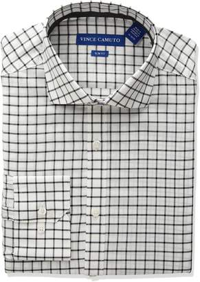 Vince Camuto Men's Slim Fit Windowpane Check Dress Shirt, White/Grey, 15.5 32/33