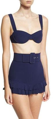 Michael Kors Self-Belted Two-Piece Skirted Bikini Set, Blue $428 thestylecure.com