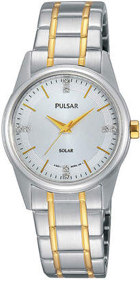 Pulsar Night Out Womens Crystal-Accent Solar Expansion Bracelet Watch PY5003