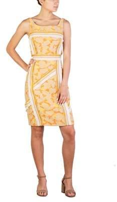 Prada Women's Nylon Cotton Blend Floral Print Dress Orange.