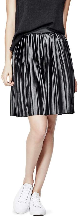 GUESS Women's Meddryk Pleated Faux-Leather Skirt