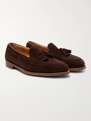 Edward Green Hampstead Leather-Trimmed Suede Tasselled Loafers - Men - Brown