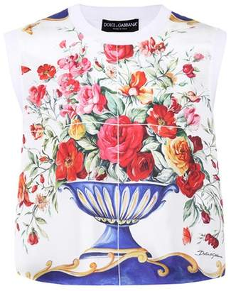 Printed sleeveless silk top