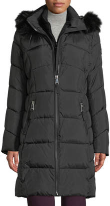 Iconic American Designer Hooded Puffer Coat with Faux-Fur Trim