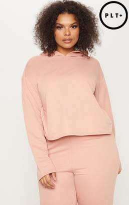 PrettyLittleThing Plus Dusty Coral Oversized Cropped Hoodie