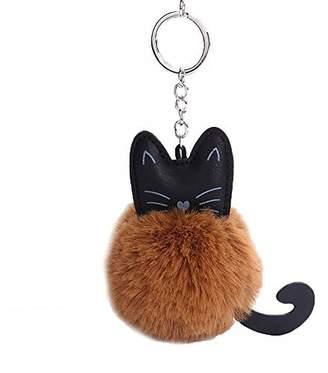 BAOBAO Cute Cat Faux Soft Fur Ball Pompom Pendant Keychain Car Handbag Purse Keyring