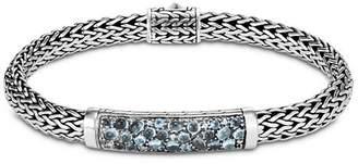John Hardy Sterling Silver Classic Chain Small Bracelet with London Blue Topaz, Swiss Blue Topaz & Blue Zircon