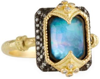 Armenta 18k Emerald-Cut Triplet & Diamond Ring, Size 6.5