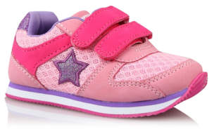 George First Walkers Pink Star 2 Strap Trainers