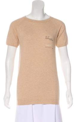 Brunello Cucinelli Embroidered Cashmere Top