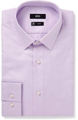 HUGO BOSS Lilac Isko Slim-Fit Cotton-Jacquard Shirt