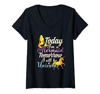 Womens Today I'm A Mermaid Tomorrow A Unicorn Mermaid Unicorn Shirt V-Neck T-Shirt