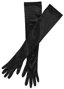 John Lewis Satin Long Evening Gloves, Black