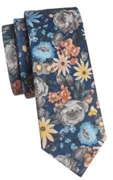 The Tie Bar Duke Floral Linen Slim Tie