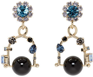 Erdem Gold and Blue Jewel Swing Earrings