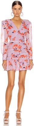 Nicholas Gathered Frill Dress in Lavender Multi | FWRD