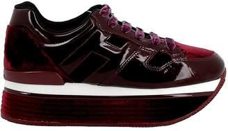 Hogan Burgundy Patent Leather/velvet Sneakers