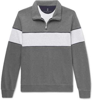 Brunello Cucinelli Two-Tone Melange Jersey Half-Zip Sweatshirt - Men - Gray
