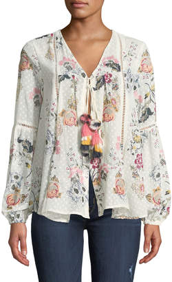 Anna Cai Floral Tasseled Tie-Front Blouse