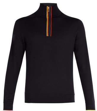 Paul Smith - High Neck Half Zip Merino Wool Sweater - Mens - Navy