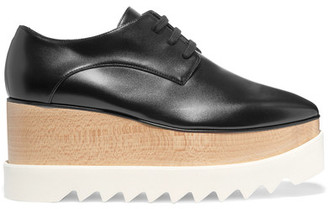 Stella McCartney - Elyse Faux Glossed-leather Platform Brogues - Black $840 thestylecure.com