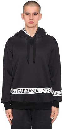 Dolce & Gabbana Hooded Logo Tape Print Cotton Sweatshirt