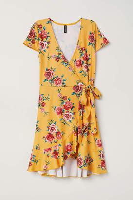 H&M Short Wrap Dress - Orange/floral - Women