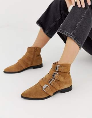 Asos Design DESIGN Alissa leather buckled boots